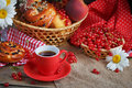 Fresh Baked Buns With A Cup Of Coffee Stock Photo - 94849400
