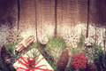 Christmas Vintage Background. Conifer Branches And Cones, Gift B Stock Image - 94866561