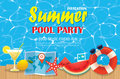 Pool Party Invitation Poster With Blue Water And Wooden. Vector Stock Photos - 94908863