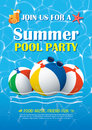Pool Party Invitation Poster With Blue Water. Vector Summer Back Royalty Free Stock Photography - 94909067