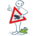 Stick Figure With A Shield In Front Of The Body And Be Careful For The Frogs Stock Images - 94931334