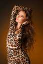 Beautiful Young Woman In Leopard Dress Stock Photos - 94959313