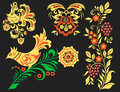 Vector Khokhloma Pattern Design Traditional Russia Drawn Illustration Ethnic Ornament Painting Illustration Royalty Free Stock Image - 94964556