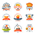 Colorful Cartoon Fast Food Label Logo Isolated Restaurant Tasty American Cheeseburger Badge Mea Meal Vector Illustration Stock Image - 94981401