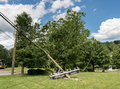 Snapped And Downed Power Post And Line After Storm Royalty Free Stock Photos - 94987788