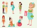 Pregnancy Motherhood People Expectation Concept Happy Pregnant Woman Character Life With Big Belly Vector Illustration Stock Photography - 94992182
