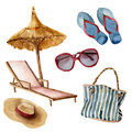 Watercolor Summer Beach Set. Hand Painted Summer Vacation Objects: Sunglasses, Beach Umbrella, Beach Chair, Straw Hat Royalty Free Stock Photography - 95038027