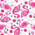 Seamless Pattern With Pink Flamingo Royalty Free Stock Image - 95076196