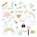 Magic Design Set With Unicorn, Rainbow, Hearts, Clouds And Others Elements. Stock Photos - 95081733
