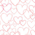 Love Hearts Seamless Doodle Line Pattern. Valentine Day Holiday Royalty Free Stock Photo - 95088145