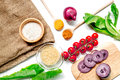 Homemade Paella Ingredients Composition With Rice, Tomato, Onion On White Table Background Top View Royalty Free Stock Photos - 95104688