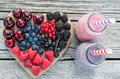 Healthy  Various Fruits On Heart And Smoothies. Diet Abstract Concept . Stock Photography - 95109412