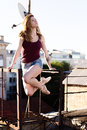 Portrait Of Ballerina On The Roof Royalty Free Stock Photos - 95112608