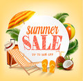 Summer Sale Template Vector Banner With Colorful Beach Elements. Royalty Free Stock Photos - 95113128