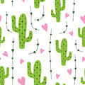 Cute Cactus Seamless Pattern With Hearts In Green, Pink And White Colors. Natural Vector Background Royalty Free Stock Images - 95121759