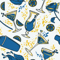 Seamless Pattern With Cocktails, Flowers And Splashes Royalty Free Stock Image - 95126326