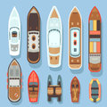 Top Aerial View Boat And Ocean Ships Vector Set Royalty Free Stock Image - 95129636