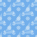 Seamless Sea Pattern Of Anchor, Handweel And Sailboat Shape. Vector Royalty Free Stock Image - 95153416