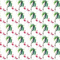 Bright Lovely Tender Gentle Sophisticated Wonderful Tropical Hawaii Summer Pattern Of Green Palm Tree And Pink Flamingos Watercolo Stock Photo - 95154270