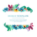 Banner Design Template With Floral Decoration. Rectangular Frame With The Decor Of Flowers, Leaves, Twigs. Individual Stock Image - 95158821