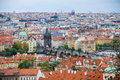 Aerial View Of The Colorful Orange Roofs Of Old Houses In The City Of Europe Prague Stock Photo - 95162750