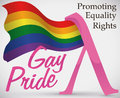 Waving Rainbow Flag And Pink Lambda Symbol For Gay Pride, Vector Illustration Stock Image - 95177491