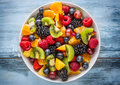 Fruit Fresh Mixed Tropical Fruit Salad. Bowl Of Healthy Fresh Fruit Salad - Died And Fitness Concept Royalty Free Stock Photos - 95177878