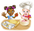 Cartoon Girls Baking Royalty Free Stock Image - 95185856
