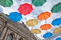 Alley Of Soaring Umbrellas In St. Petersburg. Russia Royalty Free Stock Images - 95193299