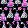 Cartoon Firs, Snowflakes. Watercolor Seamless Greeting Pattern. New Royalty Free Stock Photo - 95195245