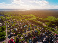 Panorama Aerial View Shot On Cottage Village In Forest, Suburb, Village. Stock Photos - 95205653