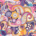 Floral Seamless Pattern, Texture Effect. Indian Colorful Ornament. Vector Decorative Flowers And Paisley. Ethnic Style Stock Image - 95219111