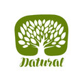 Tree With Leaves Label Or Logo. Natural, Organic Icon. Lettering Vector Illustration Royalty Free Stock Photo - 95219655