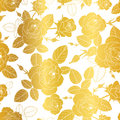 Vector Gold And White Roses And Leaves Drawing Seamless Repeat Pattern Background. Great For Subtle, Botanical, Modern Royalty Free Stock Photos - 95219788