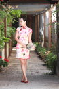 Asian Chinese Girls Wears Cheongsam Enjoy Free Time In Ancient Town Stock Photo - 95239950