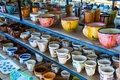 Traditional Painted Ceramic Dishes For Sale At A City Centre Shop Crete, Greece, Europe. Stock Image - 95240631