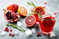Red Cocktail With Blood Orange And Pomegranate. Refreshing Summer Drink. Holiday Aperitif For Christmas Party. Stock Image - 95244791