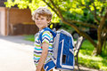Little Kid Boy With School Satchel On First Day To School Royalty Free Stock Image - 95248546