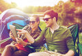 Happy Couple With Tablet Pc At Camping Tent Stock Photos - 95255633