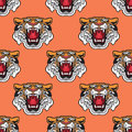 Seamless Pattern. Vector Illustration Of Cartoon Tiger Head. Royalty Free Stock Image - 95270316
