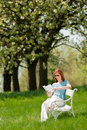 Woman Under Blossom Tree In Summer Royalty Free Stock Image - 9536156