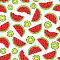Seamless Pattern With Watermelon And Kiwi Stock Image - 95304951