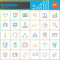 Business Line Icons Set, Outline Vector Symbol Collection, Linear Colorful Pictogram Pack Isolated On White Royalty Free Stock Image - 95313956