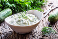 Traditional Greek Dip Sauce Or Dressing Tzatziki Prepared  With Grated Cucumber Sour Cream Yogurt Olive Oil And Fresh Dill. Stock Image - 95333941