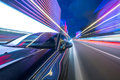 View From Side Of Car Moving In A Night City Stock Images - 95375184