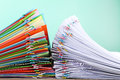 Colored And White Papers With Paperclips Stock Image - 95388181