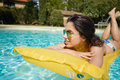 Young Woman Sun Bathing In Spa Resort Swiming Pool Royalty Free Stock Images - 95397429