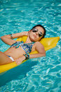 Young Woman Sun Bathing In Spa Resort Swiming Pool Stock Photography - 95397442