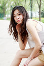 Asian Girl Outdoors. Royalty Free Stock Images - 9544459