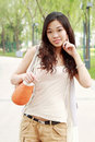 Asian Girl Outdoors. Royalty Free Stock Photo - 9544655